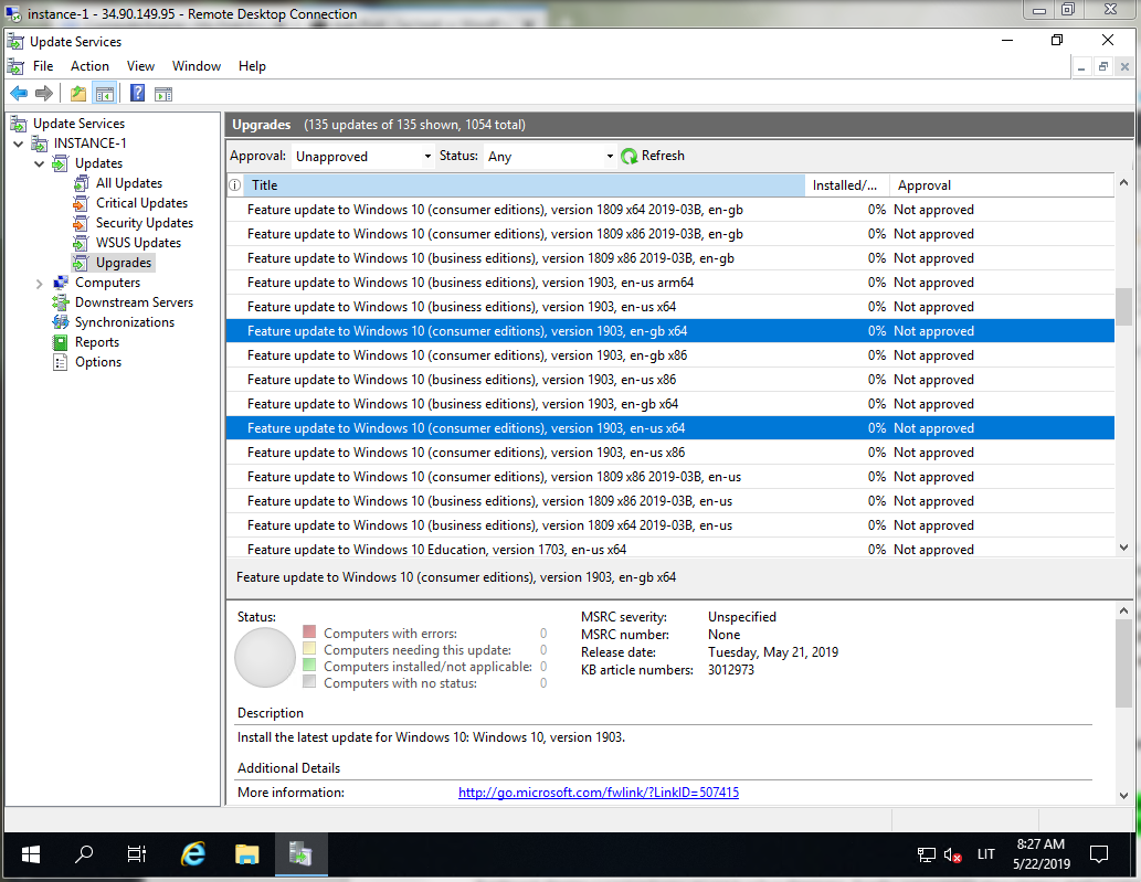 Current state of Windows 10 Feature Updates in WSUS [EN] – /w/root